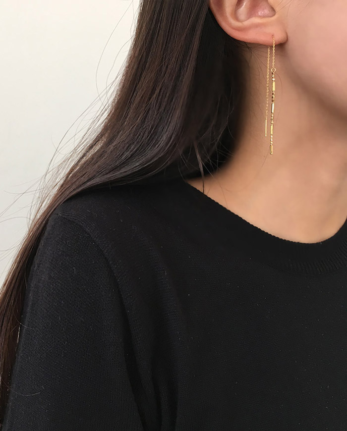 [925 Silver] Gling one-line earring (3color)  E91