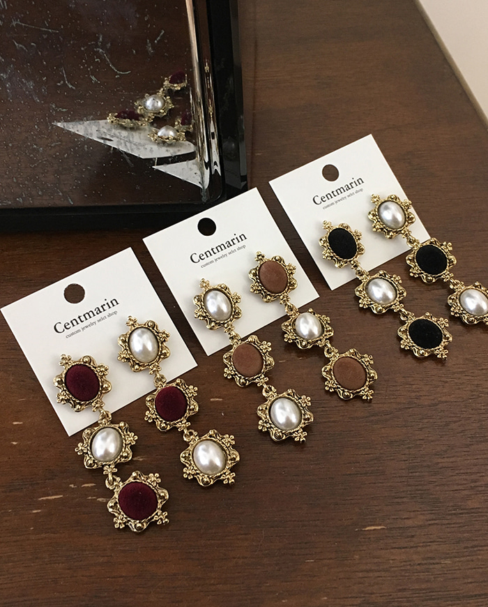 Vintage jewel earring (3color)  E145