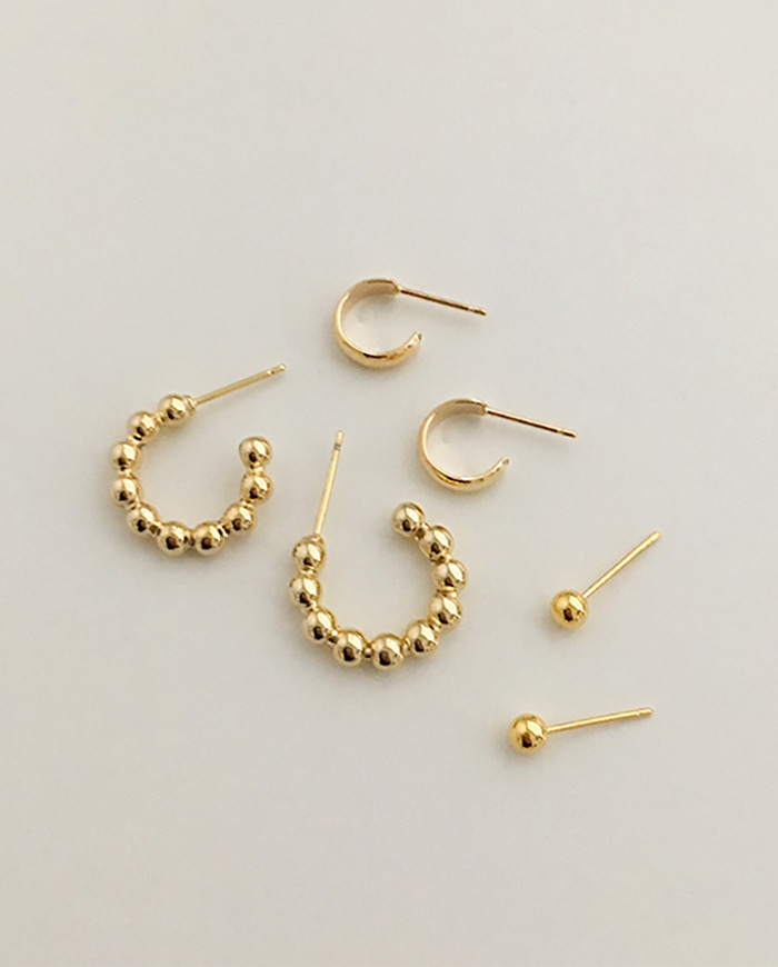 [무배] Simple dot earrings 3set E193