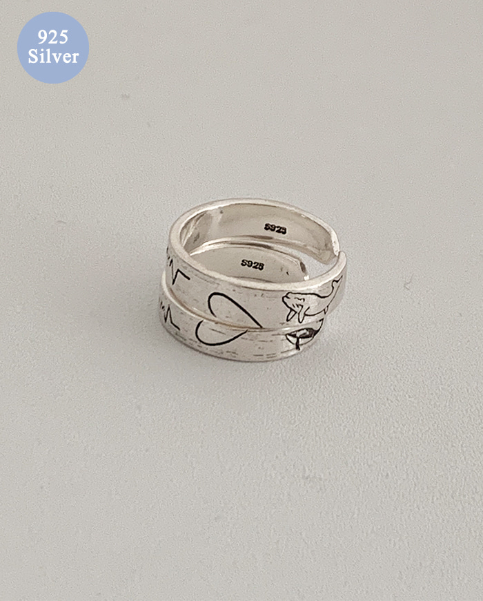 [925 Silver] Heart set rings