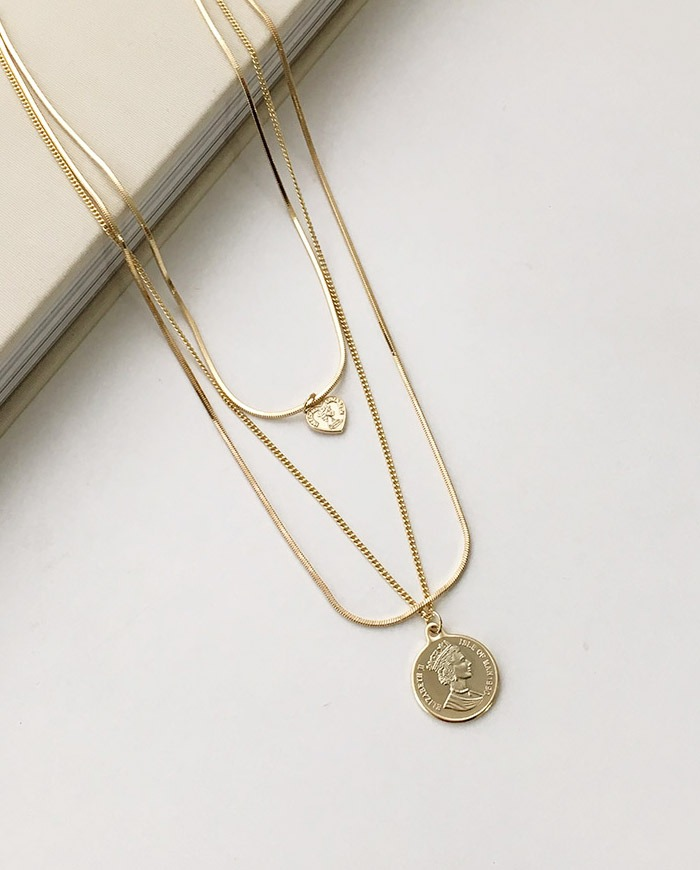 Layered coin necklace (2color) N 44