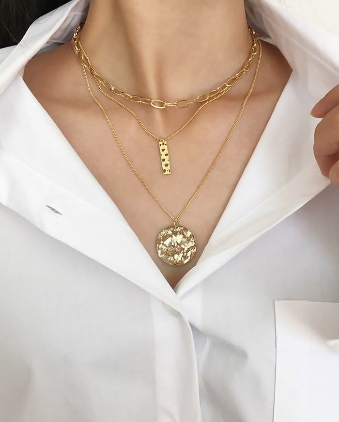 Crack chain layered necklace N 15