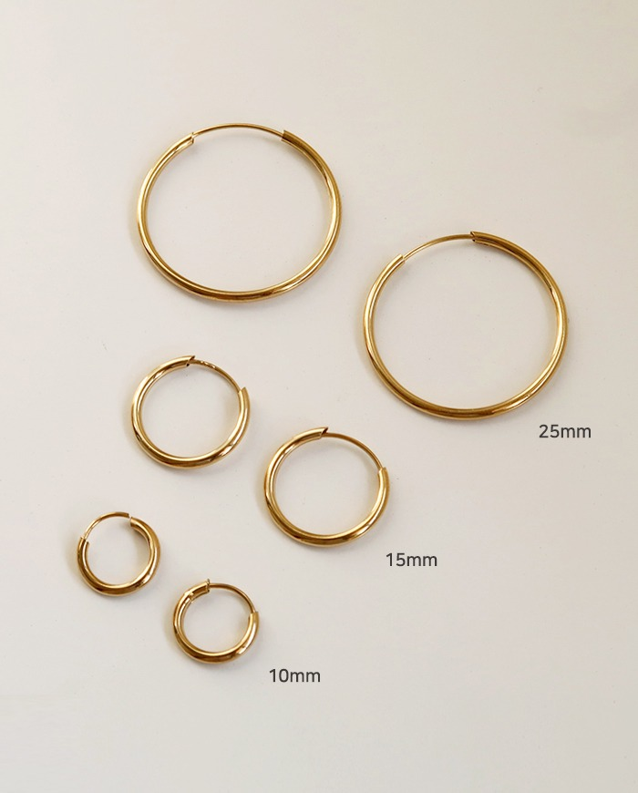 [925 Silver] Basic hoop ring earring (3color) E 189