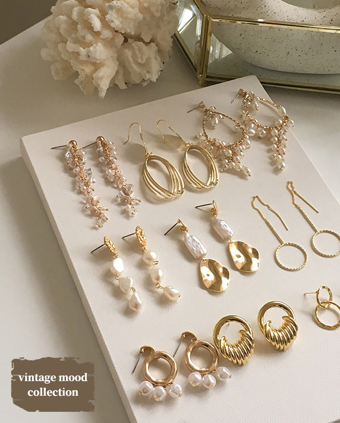 Vintage mood earring collection (9type)